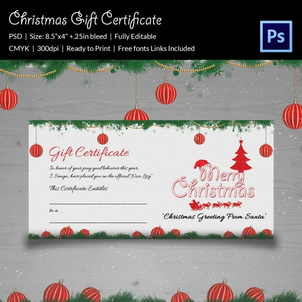 Christmas Gift Certificate Card Template Download