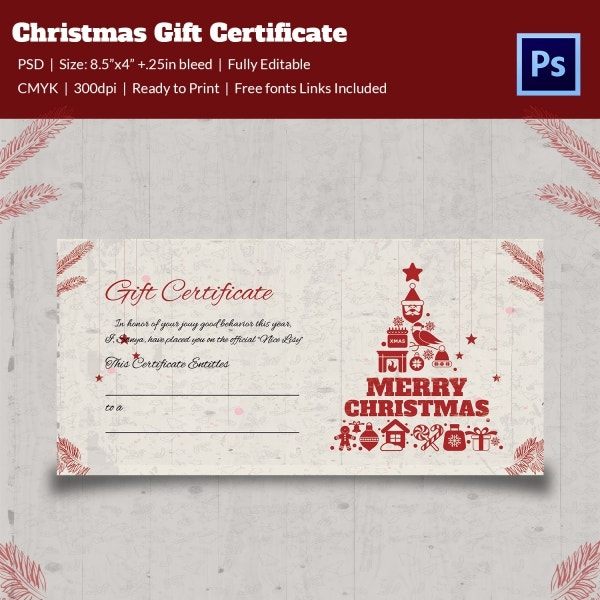 Christmas Holiday Gift Card Template EPS Format