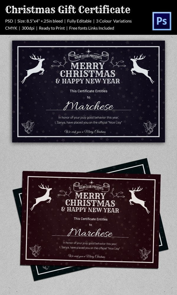 Christmas Gift Certificate Templates   Psd Format Download