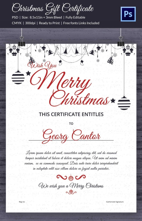Format of Christmas Hampers Gift Certificate Template Download