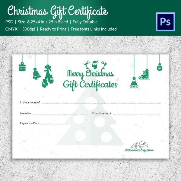 Christmas gift certificate templates 21 psd format for Download certificate template psd