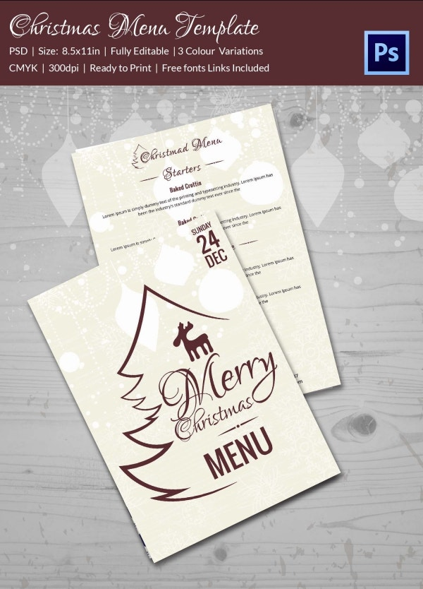 Premium Christmas Menu Flyer Template Photoshop PSD