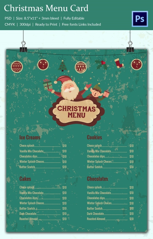 Print Christmas Menu Template CS3 PSD Design
