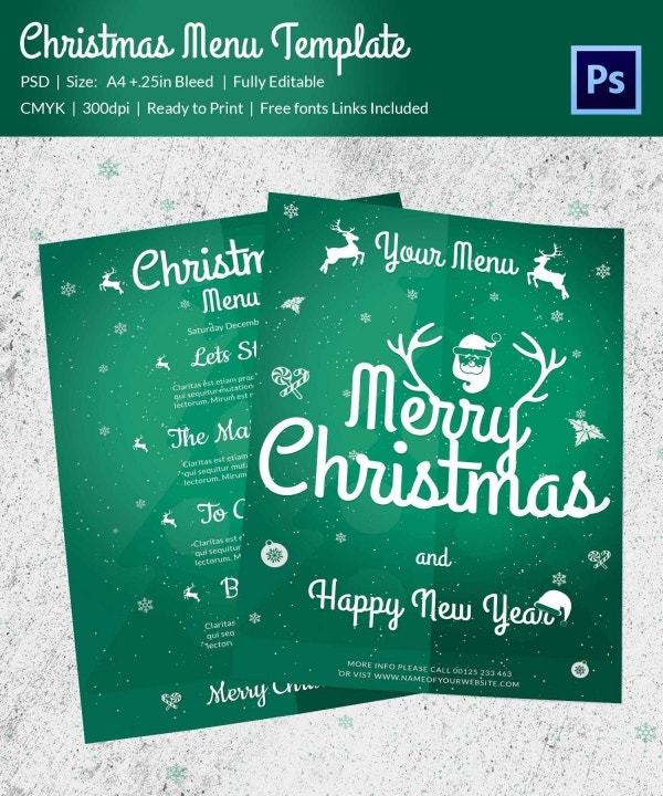 Christmas Menu Template 32 Free PSD EPS AI Illustrator Word – Christmas Menu Word Template