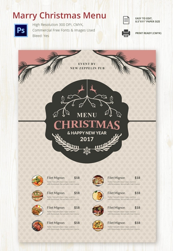 Marry Christmas Menu PSD Design