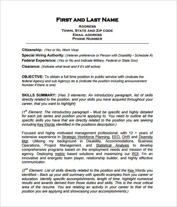 Federal Employement Resume PDF Free Download  Words For Resumes