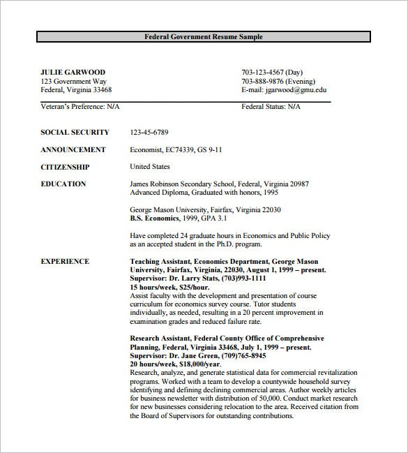 Federal resume template 8 free word excel pdf format for Free government resume templates