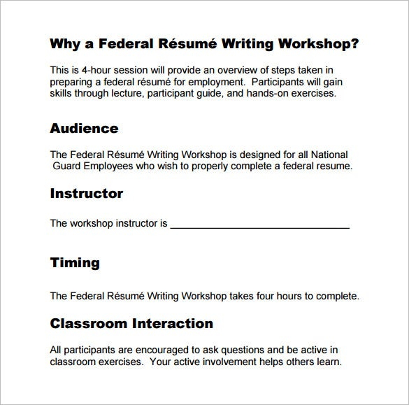 Federal resume workshop device tester resume for Federal resume writing workshop