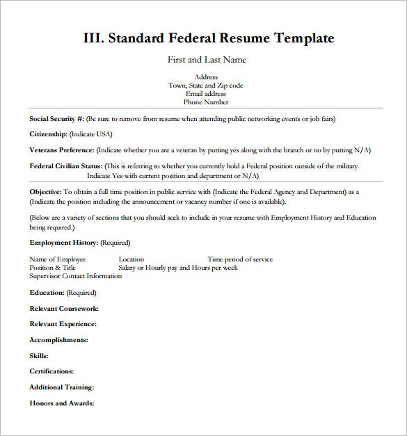 Federal Resume Template 10 Free Word Excel PDF Format Download – Employment History Template