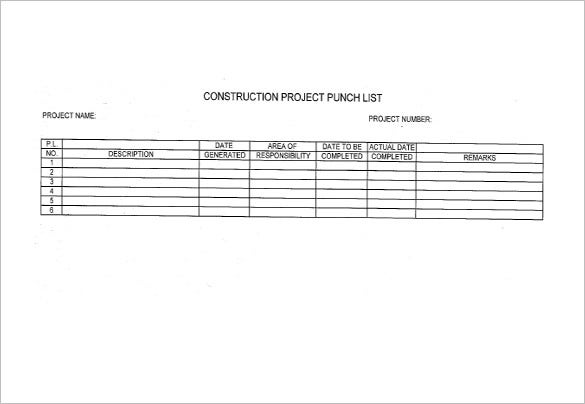 construction punch list