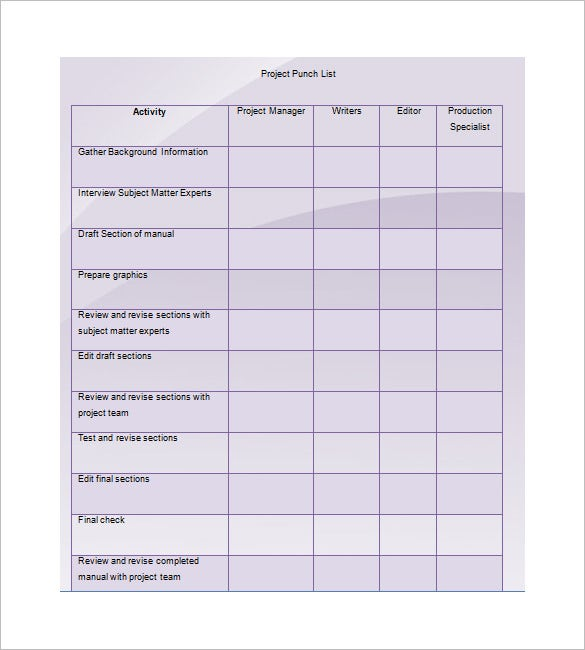 Punch List Template   Free Word Excel  Format Download