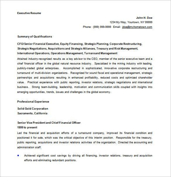 chief executive officer resume word free download