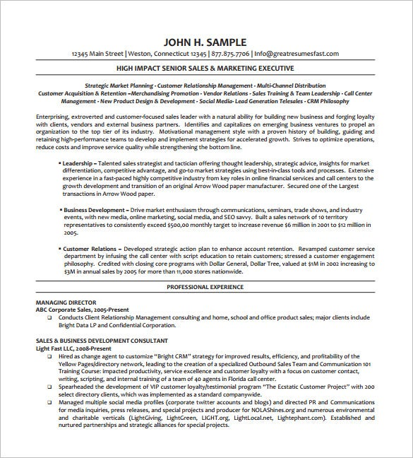 Wonderful Executive Managing Director Resume PDF Free Download