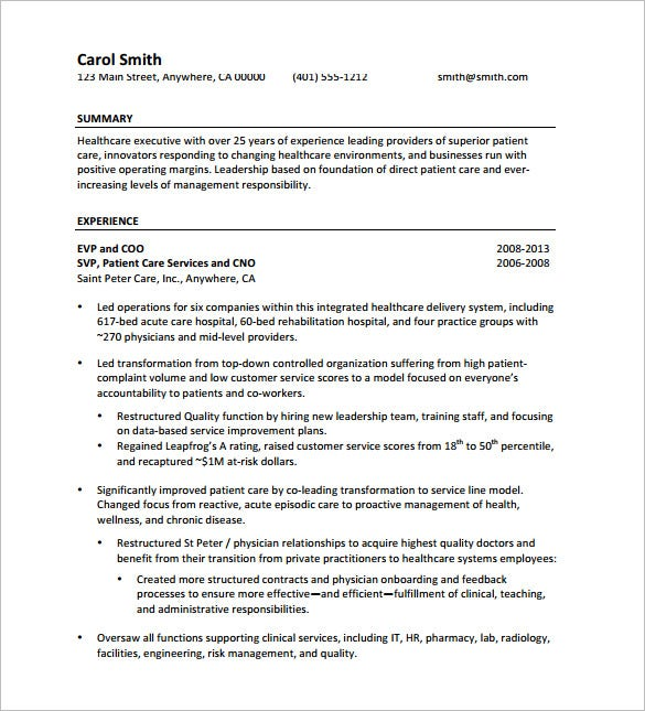 Senior Executive Resume PDF Free Download  Executive Resume Templates Word