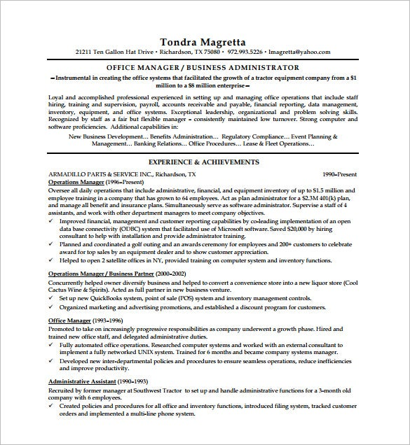 Executive Resume Template  Free Word Excel Pdf Format