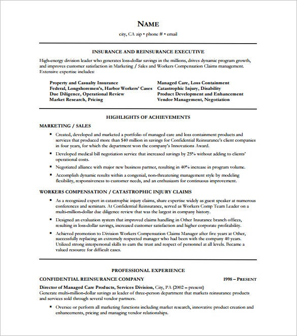 insurance executive resume pdf free download