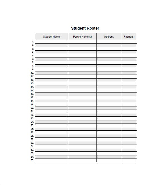 Class List Template   Free Word Excel Pdf Format Download
