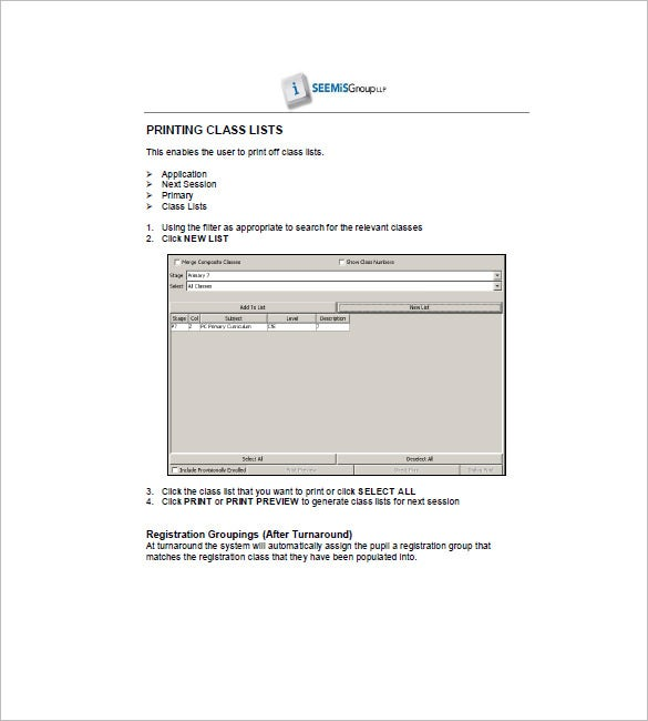 printable class list