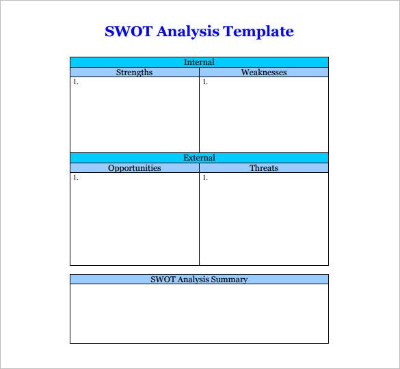 Swot Analysis Table Template Elitadearest