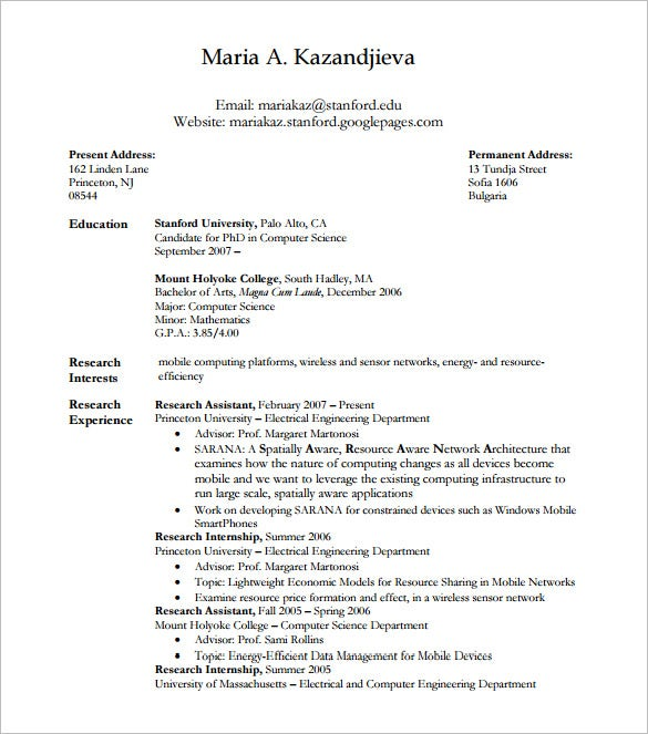 Student Latex Resume PDF Free Download