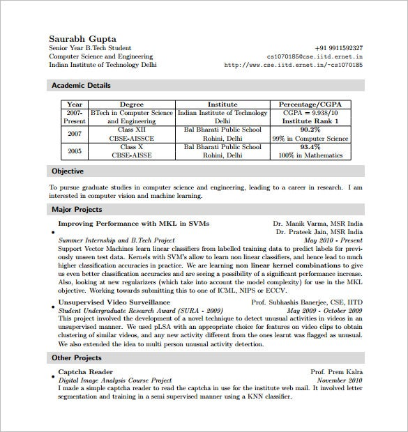 Latex Resume Template  7 Free