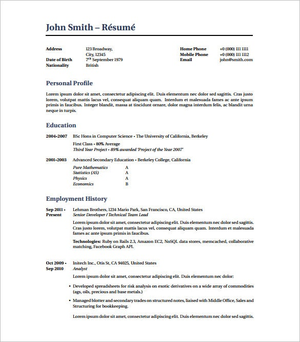 High Quality Best Latex Resume Template PDF Download