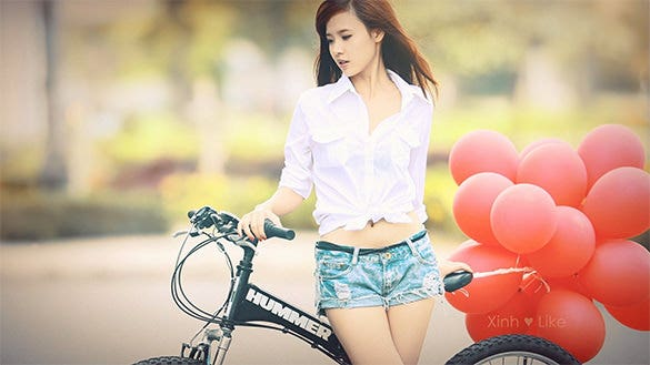 asian girl bike red balloons beauty girl mobile background