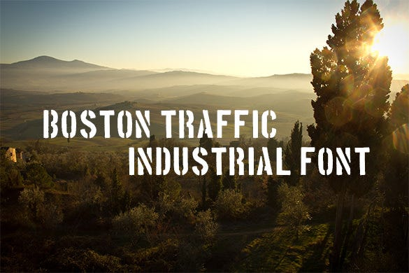 boston traffic infustrial font for free