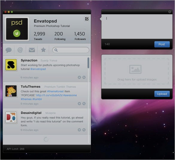 design twitter app interface in photoshop