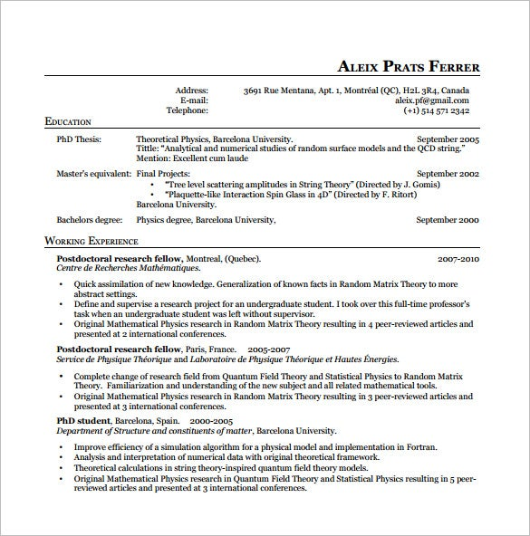 Latex Physics Resume PDF Free Download  Latex Template Resume