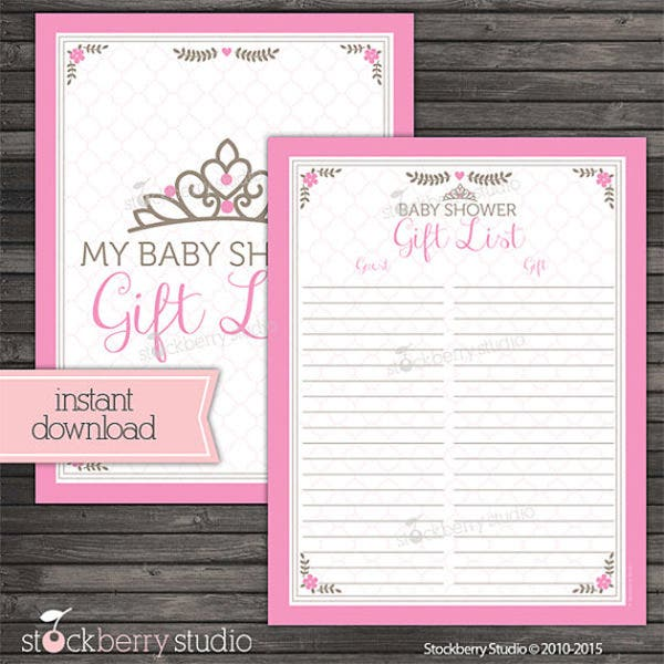 free baby shower guest list templates