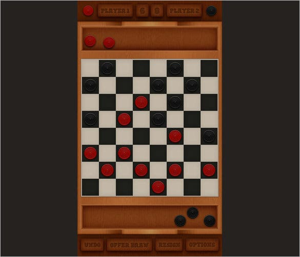design a mobile checkers game interface in photoshop