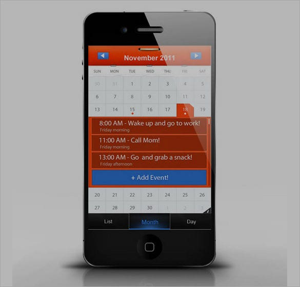 design a mobile calendar app in photoshop