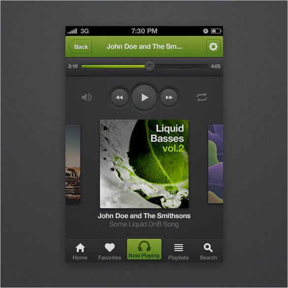 create an iphone music player app interface in photoshop
