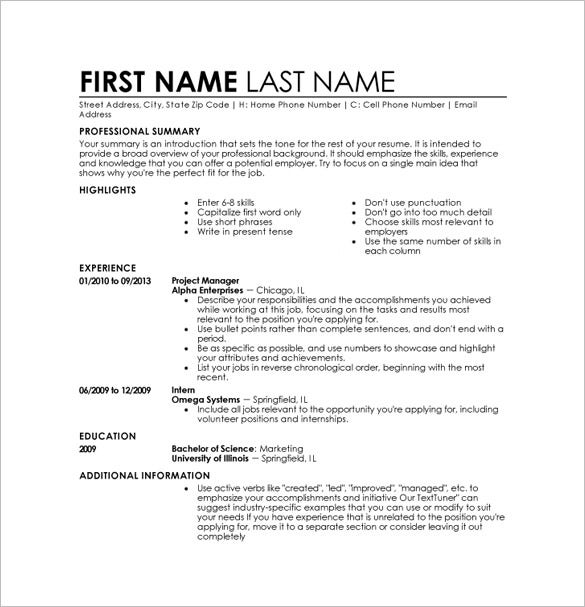 Free Resume Templates For Word Download Resume 4 Download This