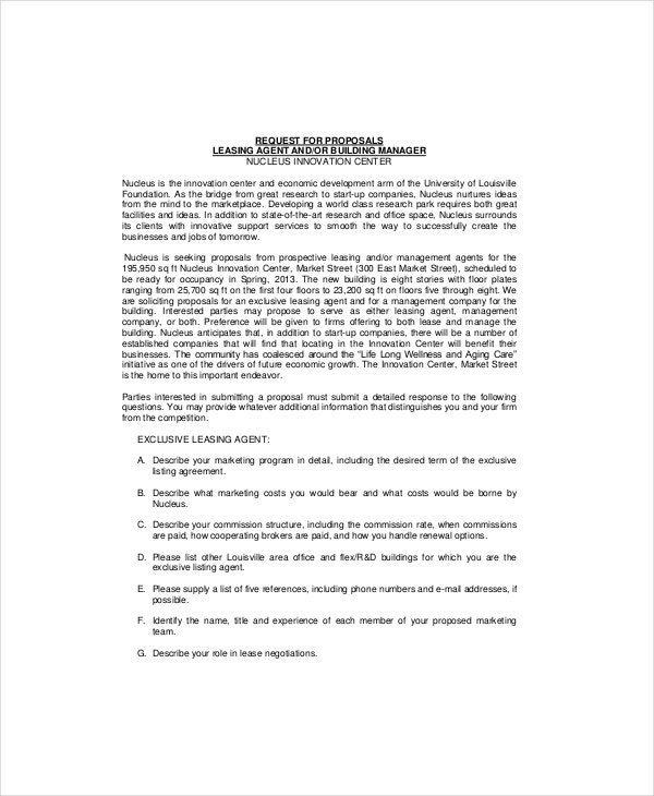 Lease proposal Template 5 Free Word PDF Documents Download – Commercial Proposal Template