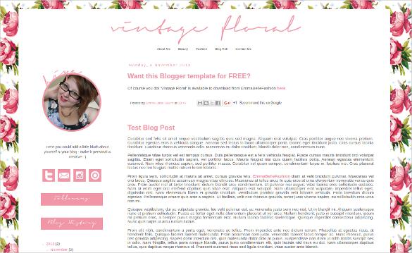 Vintage Floral Blogger Template