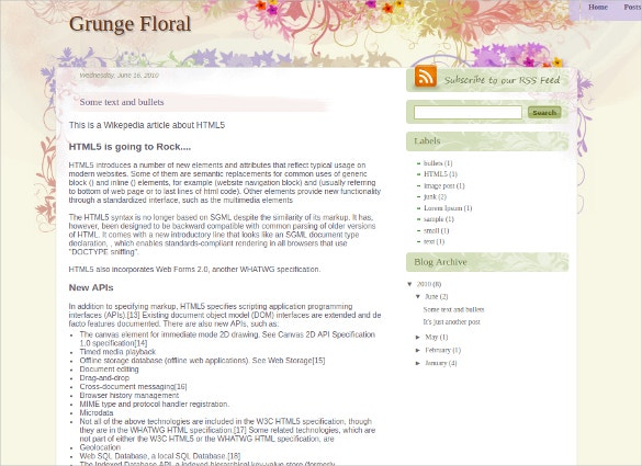 Lovely Floral Blogger Template