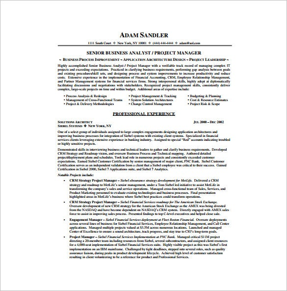 it business analyst resume pdf free download
