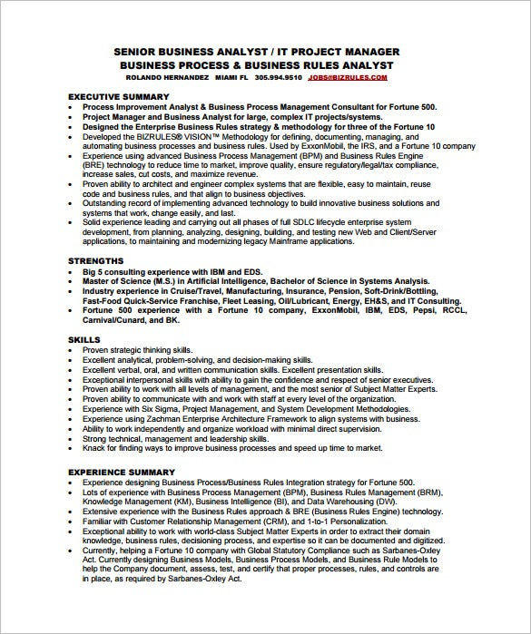 senior business analyst resume free pdf template - Sample Business Analyst Resume