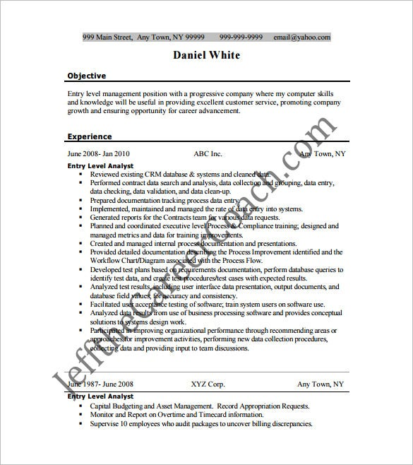 resume template for entry level business analyst free pdf