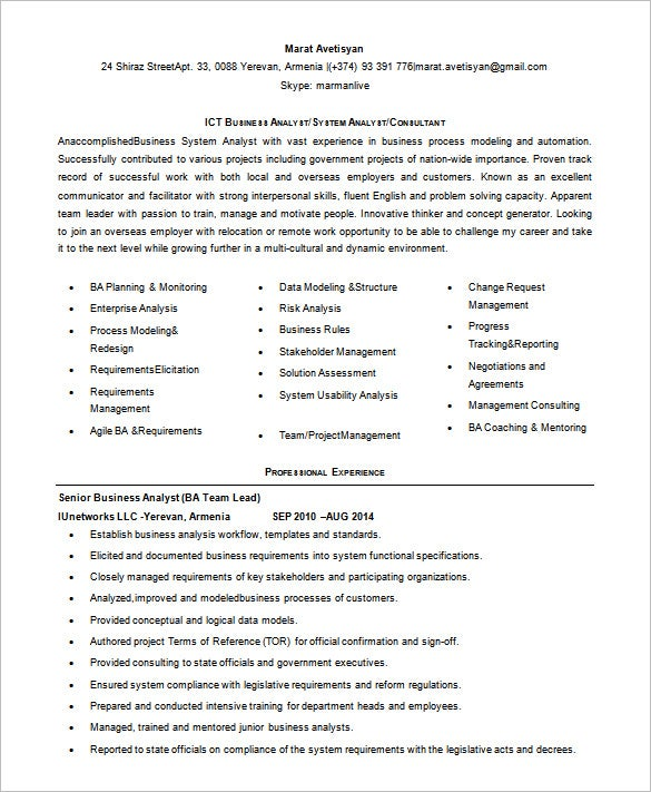 free junior business analyst resume word download