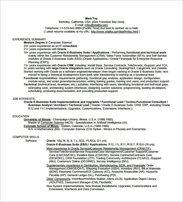 Business Analyst Resume Template   Free Word Excel Pdf Free