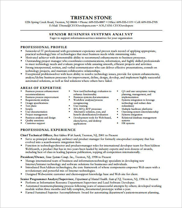 business system analyst resume pdf free template - Systems Analyst Resume Samples