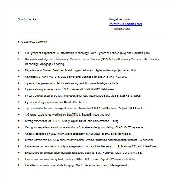 business intelligence resume in ms word free download
