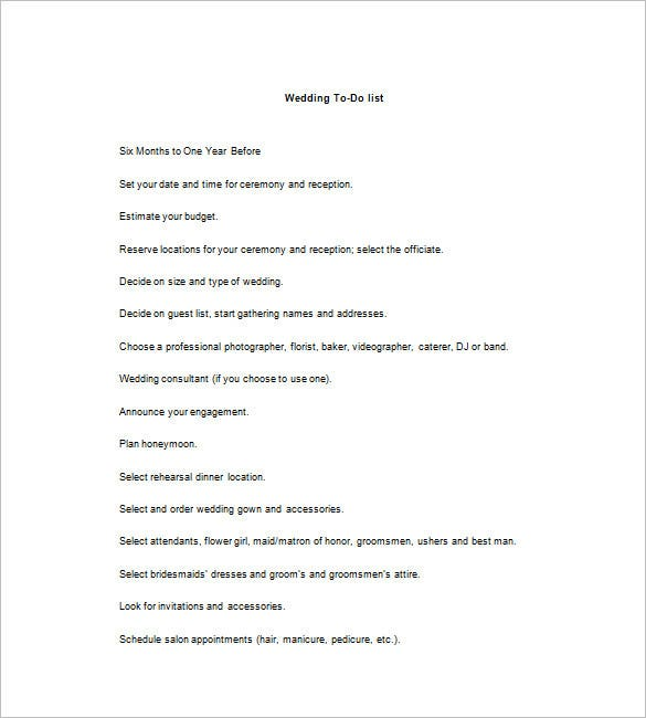 wedding to do list template 8 free word excel pdf format