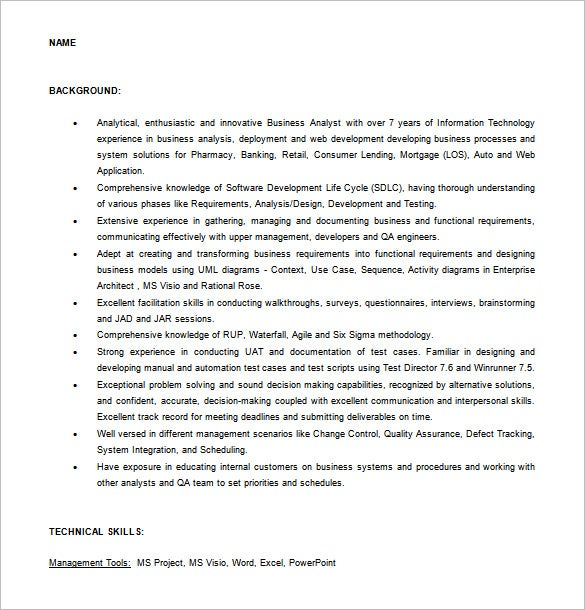 Experienced Business Analyst Resume Word Free Download
