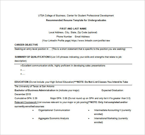 business resume word free download