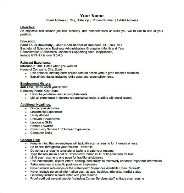 International Business Resume PDF Free Download  Objective For Business Resume