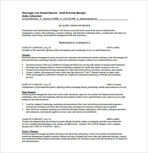 Small Business Manager Resume PDF Template  Business Owner Job Description For Resume